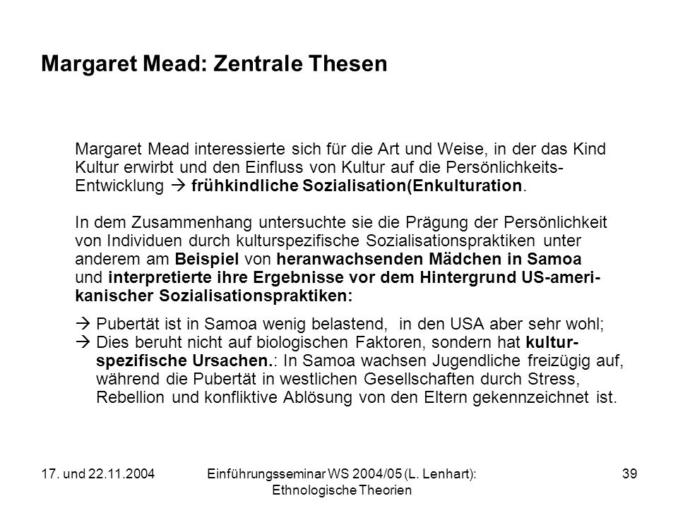 Margaret Mead: Zentrale Thesen