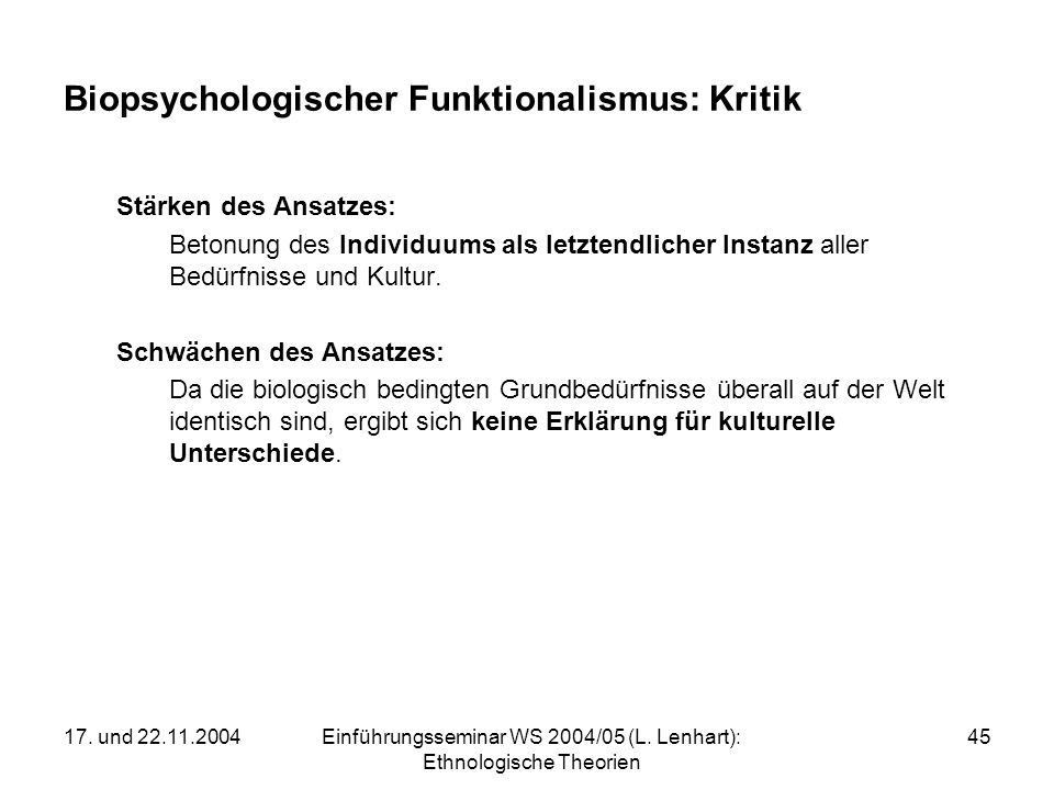 Biopsychologischer Funktionalismus: Kritik