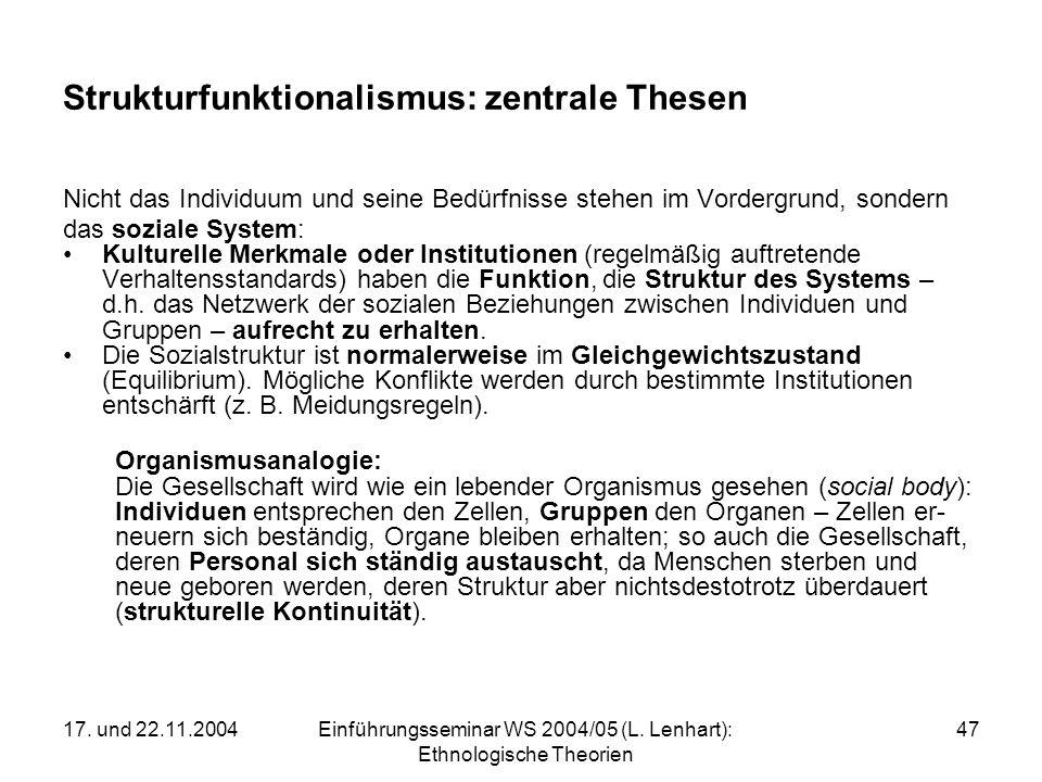 Strukturfunktionalismus: zentrale Thesen