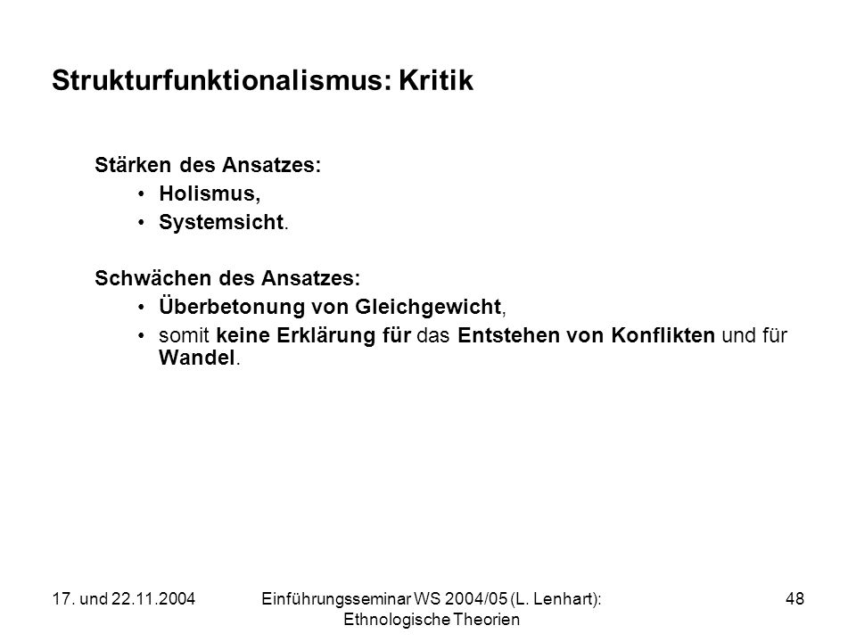 Strukturfunktionalismus: Kritik