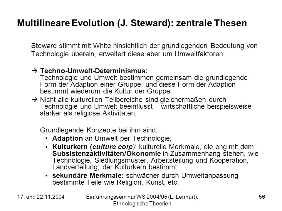 Multilineare Evolution (J. Steward): zentrale Thesen
