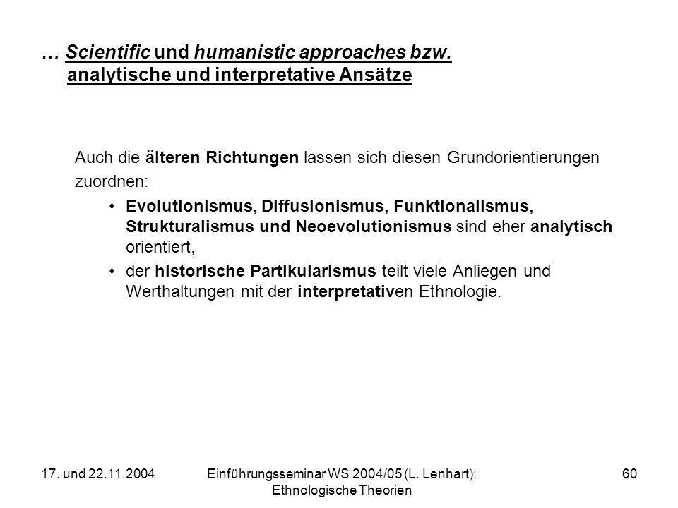 Einführungsseminar WS 2004/05 (L. Lenhart): Ethnologische Theorien