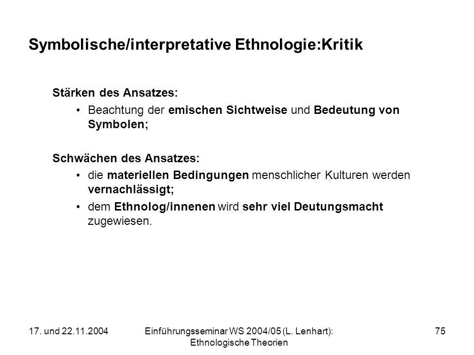 Symbolische/interpretative Ethnologie:Kritik