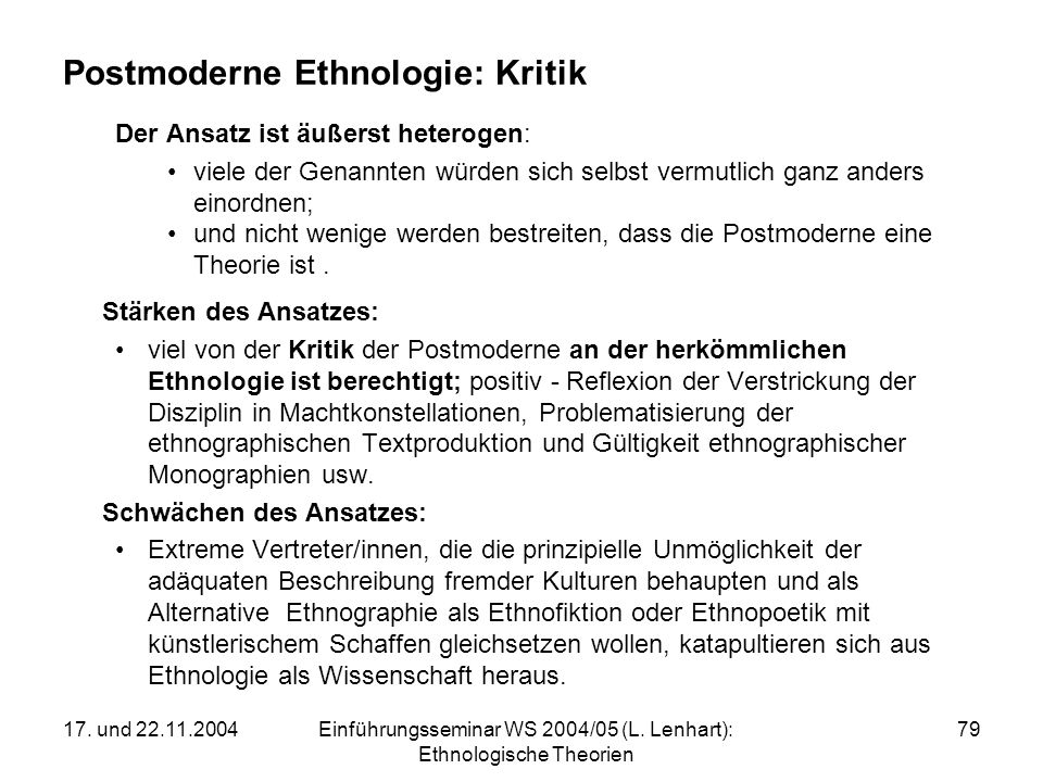 Postmoderne Ethnologie: Kritik