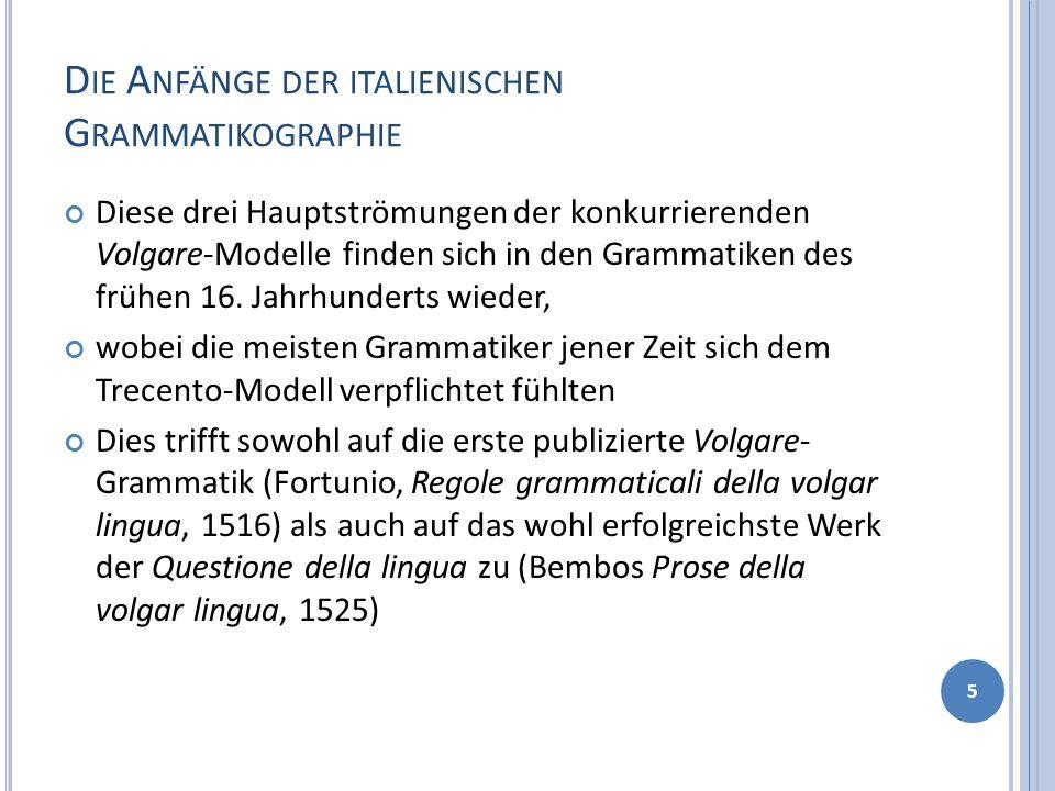 Die Anfänge der italienischen Grammatikographie