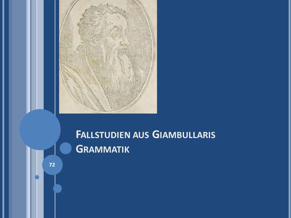 Fallstudien aus Giambullaris Grammatik