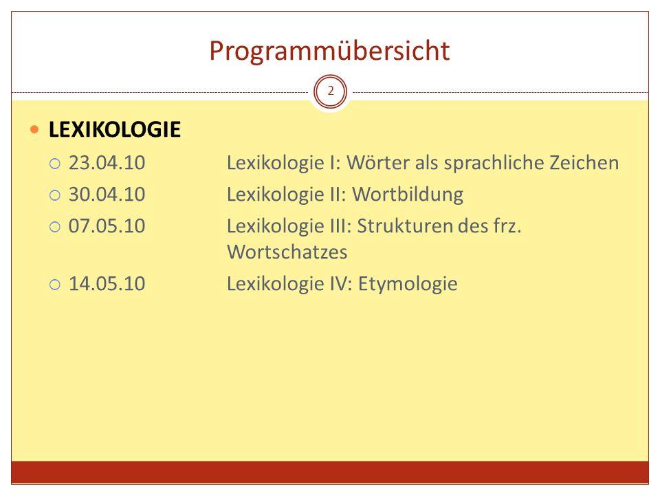 Programmübersicht LEXIKOLOGIE