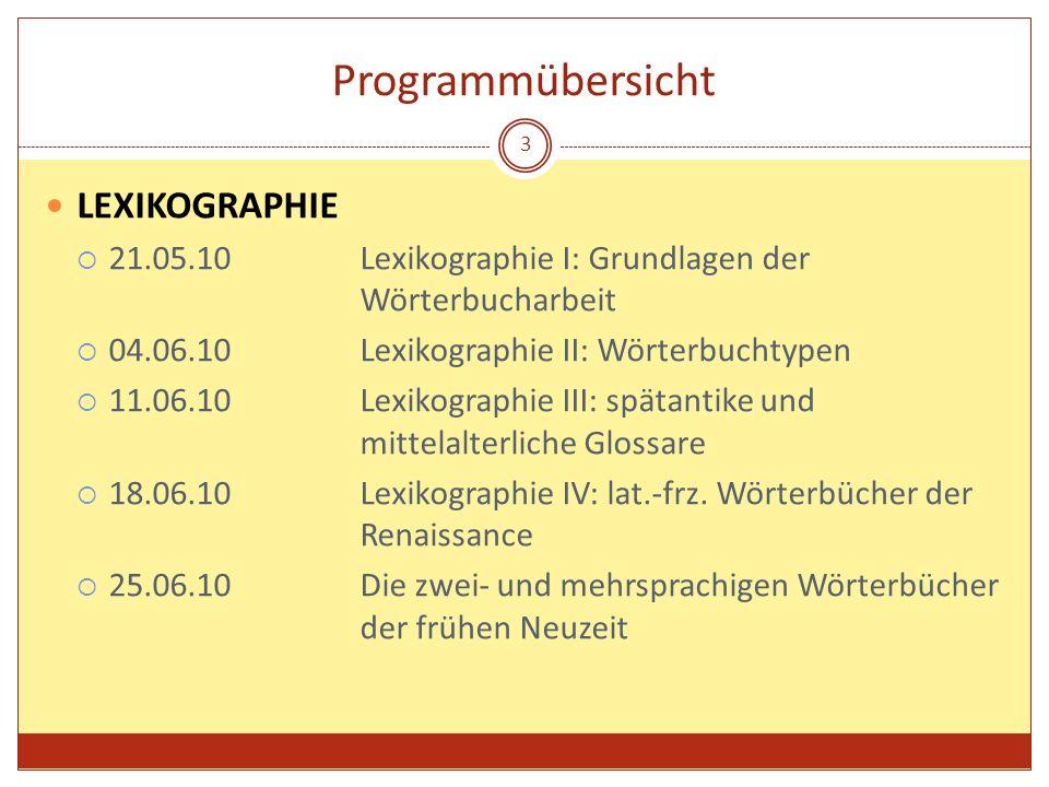 Programmübersicht LEXIKOGRAPHIE