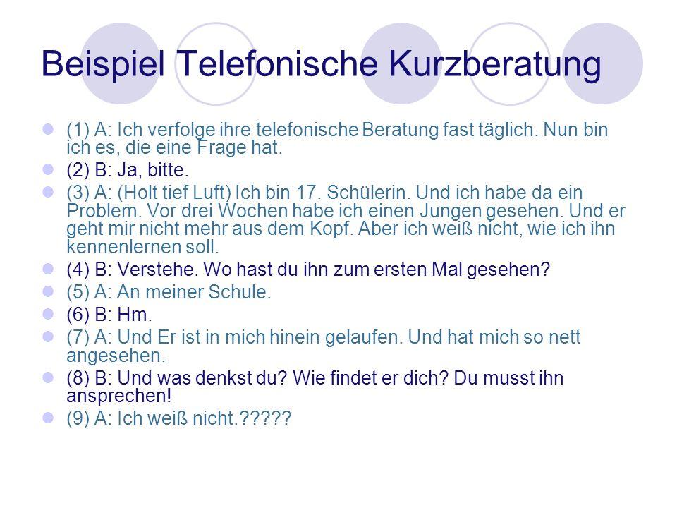 Beispiel Telefonische Kurzberatung