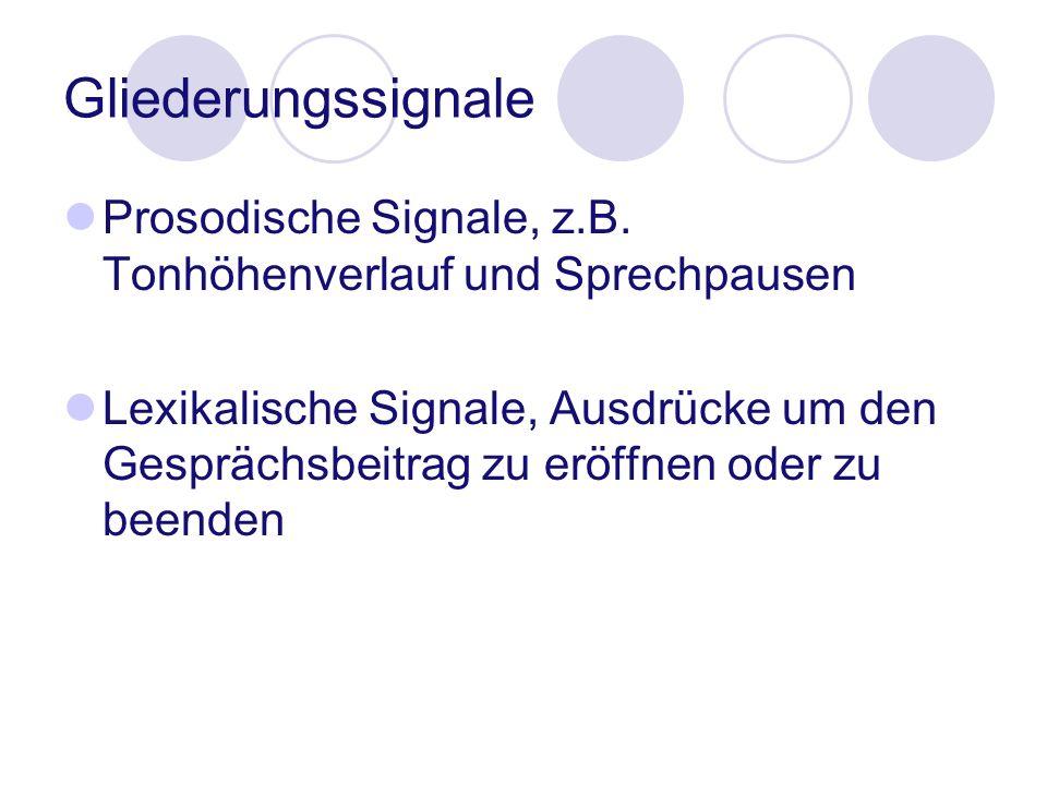 Gliederungssignale Prosodische Signale, z.B. Tonhöhenverlauf und Sprechpausen.