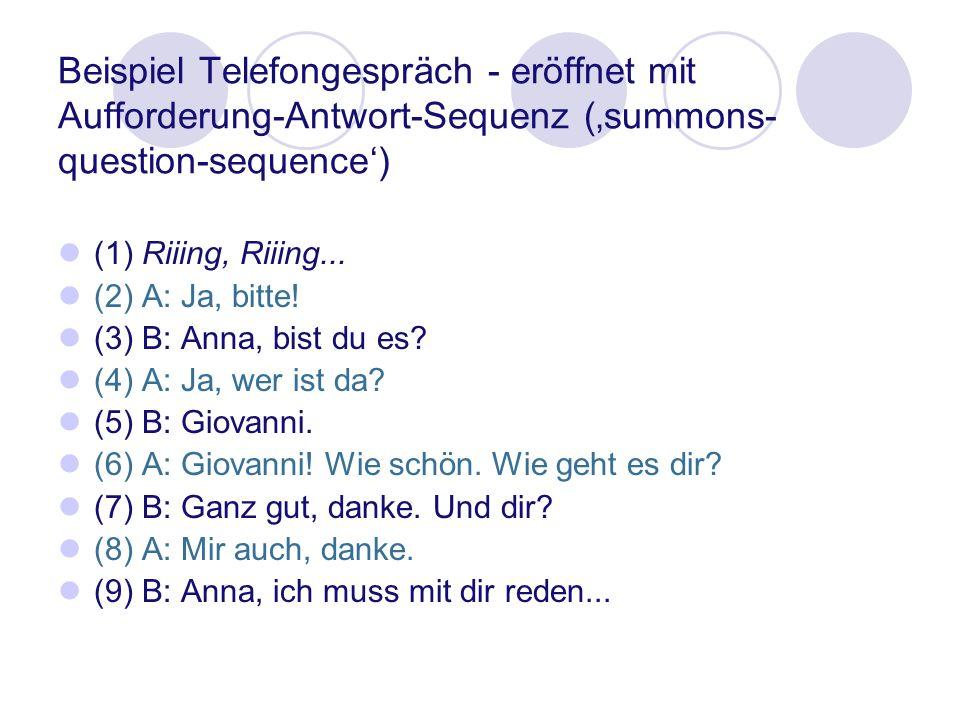 Beispiel Telefongespräch - eröffnet mit Aufforderung-Antwort-Sequenz ('summons-question-sequence')