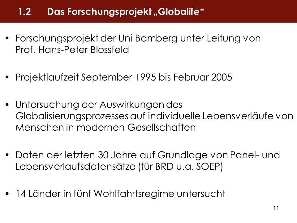 """1.2 Das Forschungsprojekt """"Globalife"""