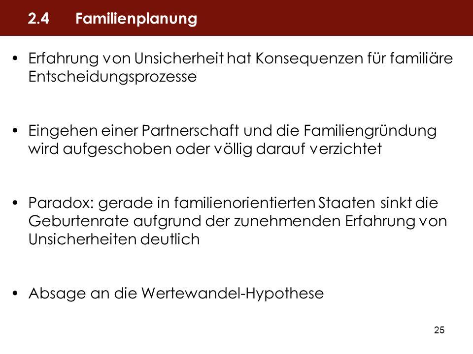 2.4 Familienplanung Erfahrung von Unsicherheit hat Konsequenzen für familiäre Entscheidungsprozesse.