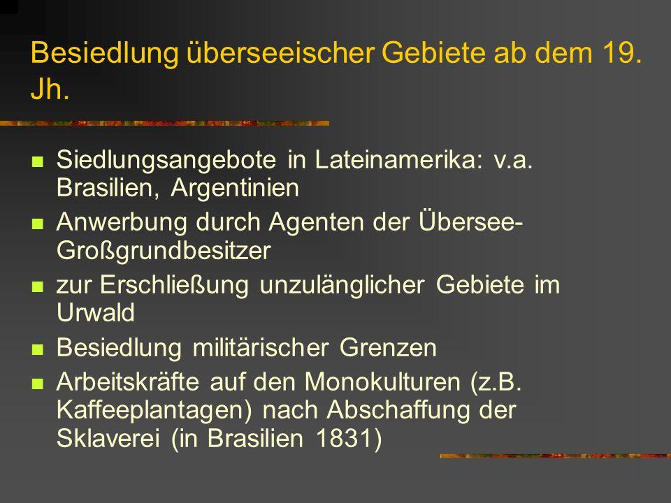 Besiedlung überseeischer Gebiete ab dem 19. Jh.