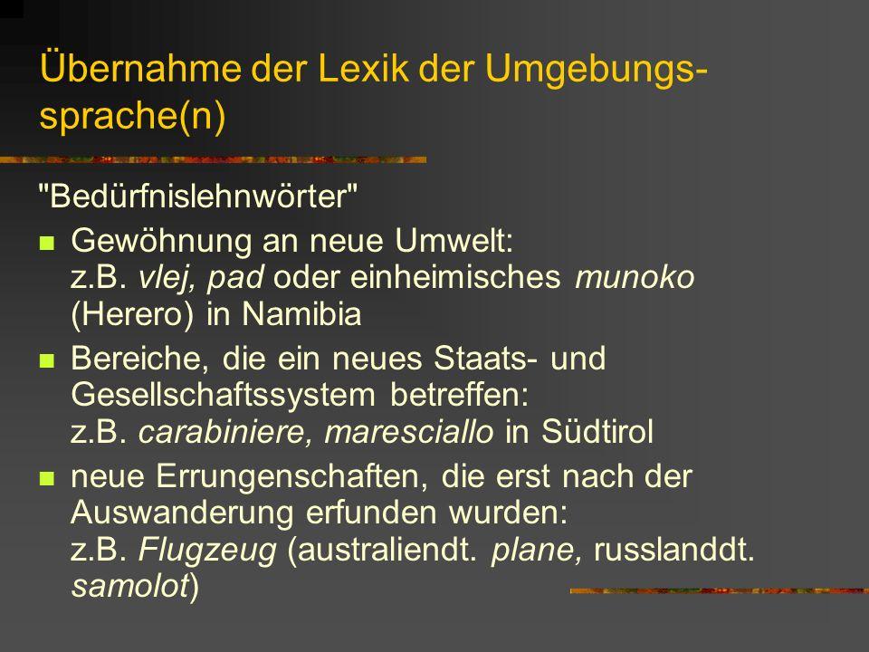 Übernahme der Lexik der Umgebungs-sprache(n)