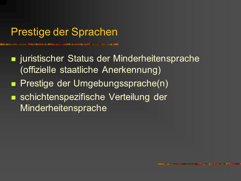 Prestige der Sprachen juristischer Status der Minderheitensprache (offizielle staatliche Anerkennung)