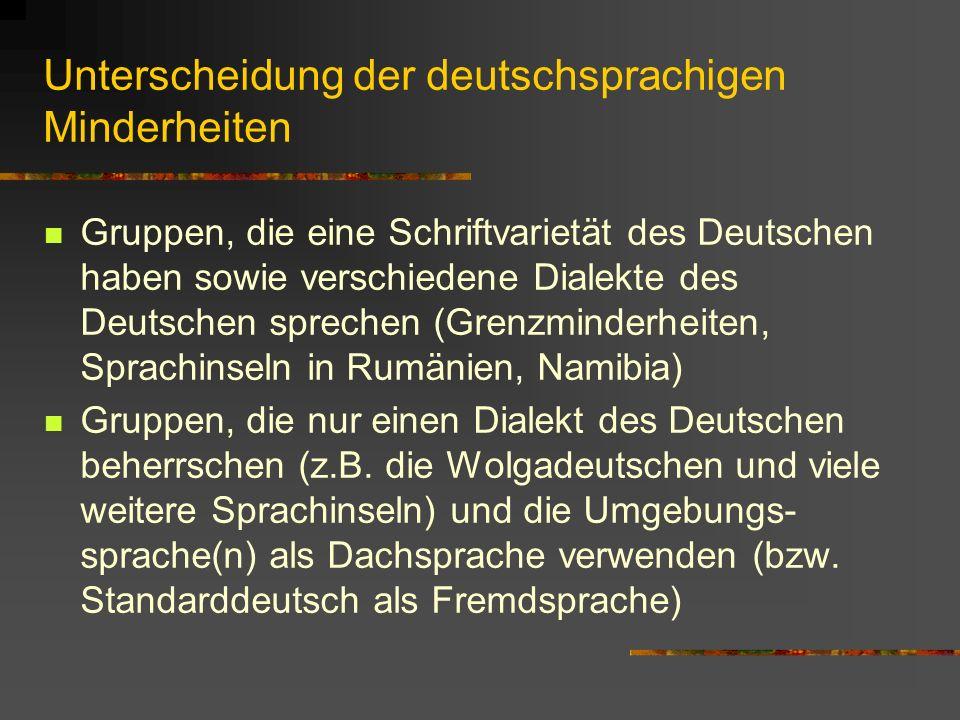 Unterscheidung der deutschsprachigen Minderheiten
