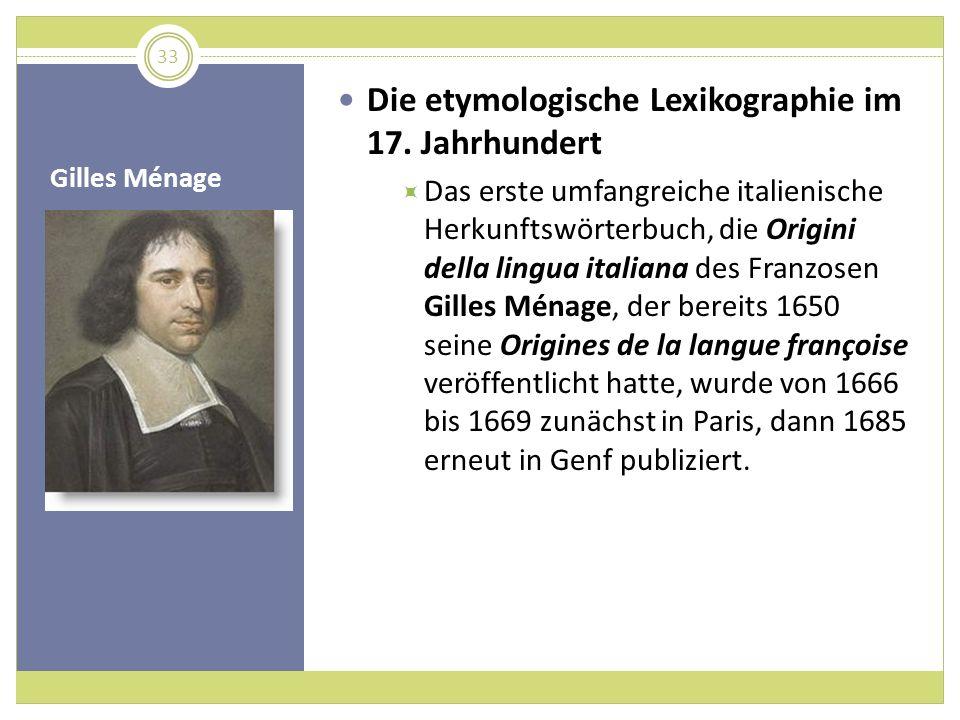 Die etymologische Lexikographie im 17. Jahrhundert