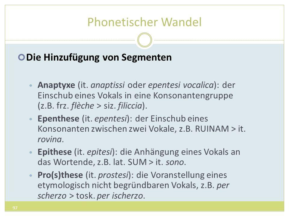 Phonetischer Wandel Die Hinzufügung von Segmenten