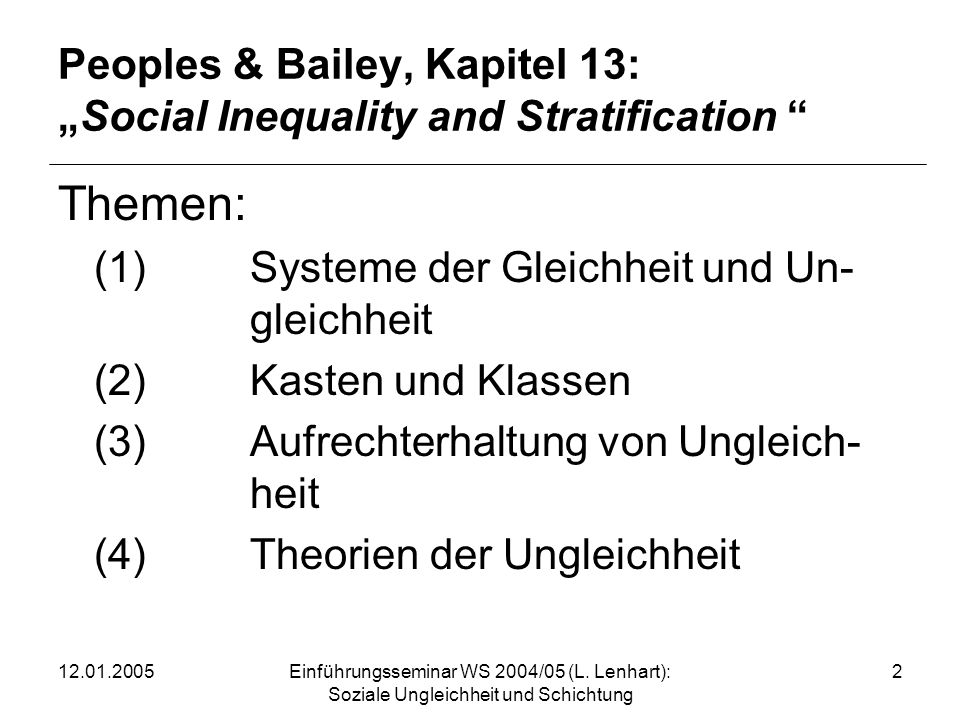 "Peoples & Bailey, Kapitel 13: ""Social Inequality and Stratification"