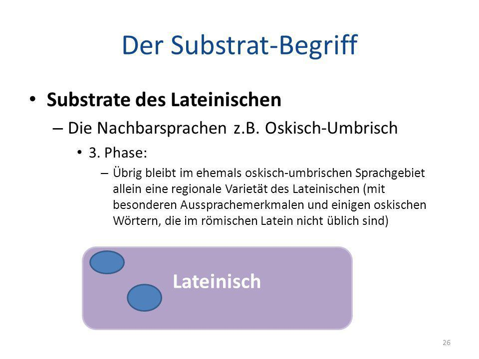 Der Substrat-Begriff Substrate des Lateinischen Lateinisch