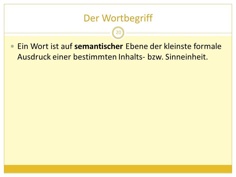 Der Wortbegriff Ein Wort ist auf semantischer Ebene der kleinste formale Ausdruck einer bestimmten Inhalts- bzw.