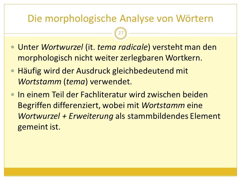Die morphologische Analyse von Wörtern