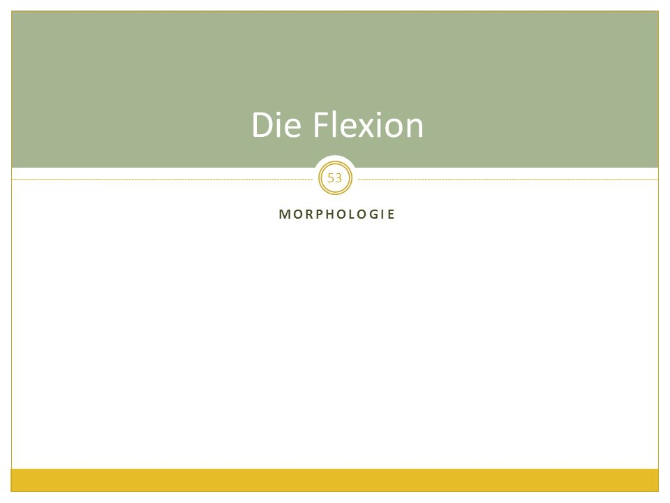 Die Flexion Morphologie