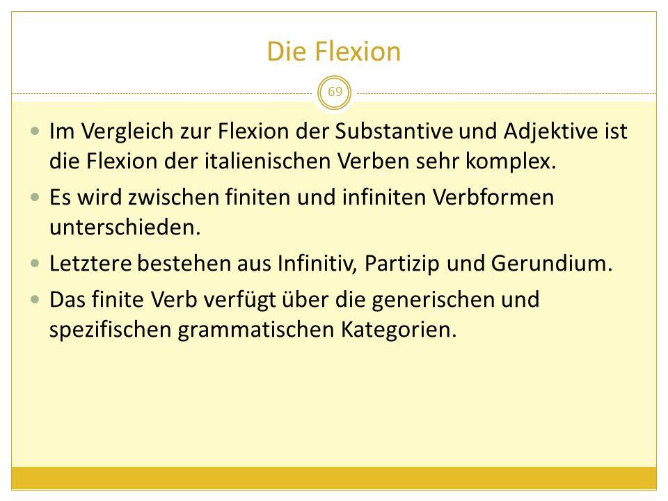Die Flexion Im Vergleich zur Flexion der Substantive und Adjektive ist die Flexion der italienischen Verben sehr komplex.
