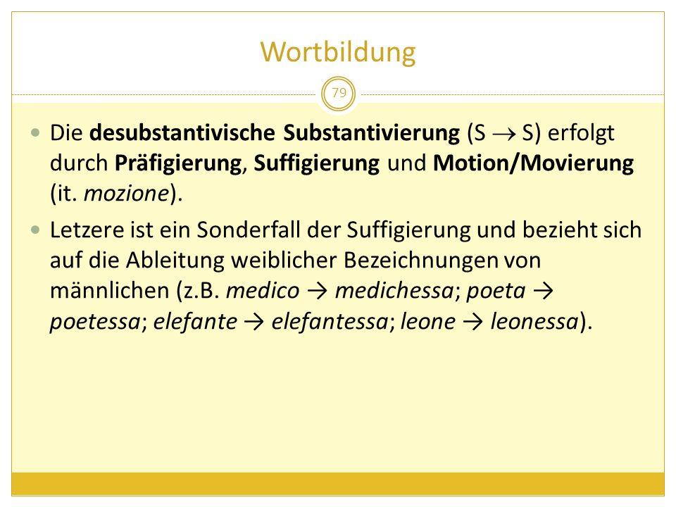Wortbildung Die desubstantivische Substantivierung (S  S) erfolgt durch Präfigierung, Suffigierung und Motion/Movierung (it. mozione).
