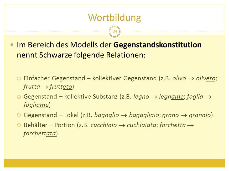 Wortbildung Im Bereich des Modells der Gegenstandskonstitution nennt Schwarze folgende Relationen: