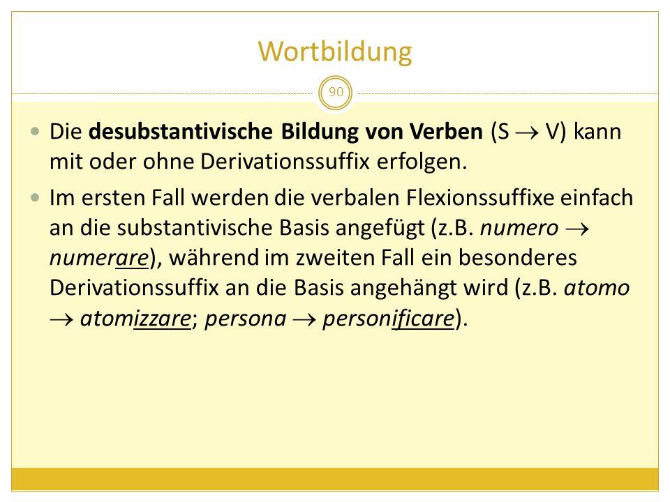 Wortbildung Die desubstantivische Bildung von Verben (S  V) kann mit oder ohne Derivationssuffix erfolgen.