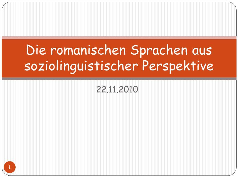 Die romanischen Sprachen aus soziolinguistischer Perspektive