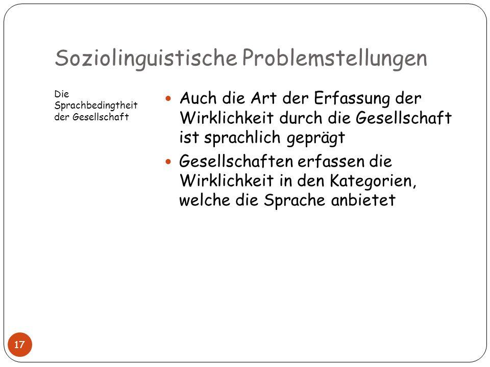 Soziolinguistische Problemstellungen