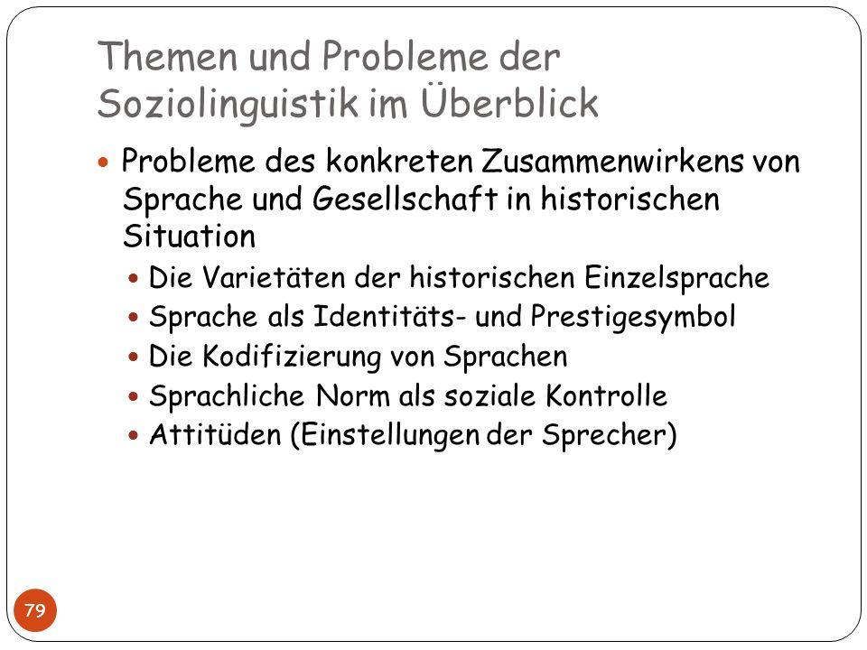 Themen und Probleme der Soziolinguistik im Überblick