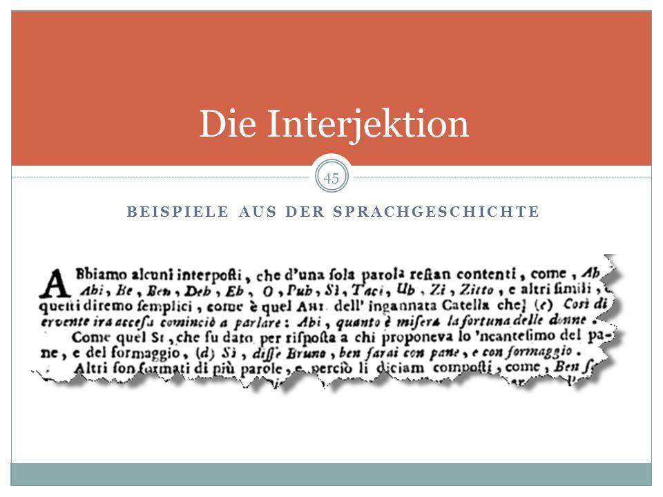 Beispiele aus der Sprachgeschichte