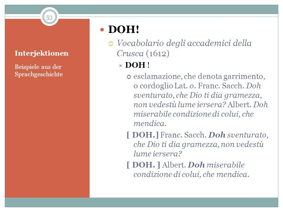 DOH! Vocabolario degli accademici della Crusca (1612) DOH !