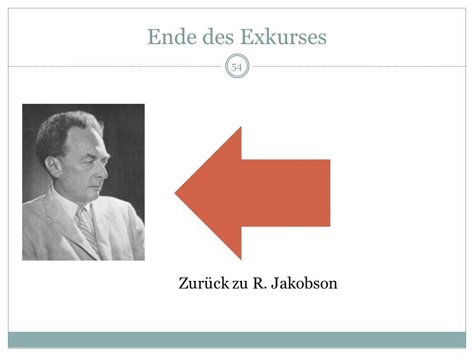Ende des Exkurses Zurück zu R. Jakobson