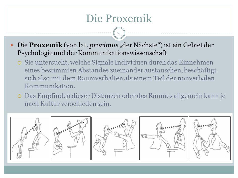 """Die Proxemik Die Proxemik (von lat. proximus """"der Nächste ) ist ein Gebiet der Psychologie und der Kommunikationswissenschaft."""