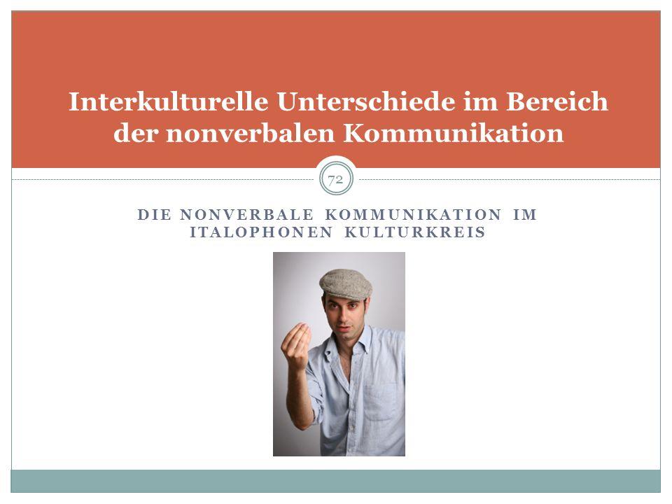 Interkulturelle Unterschiede im Bereich der nonverbalen Kommunikation