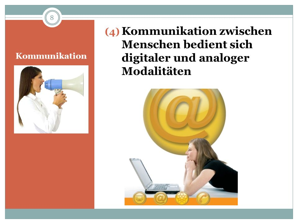 Kommunikation zwischen Menschen bedient sich digitaler und analoger Modalitäten