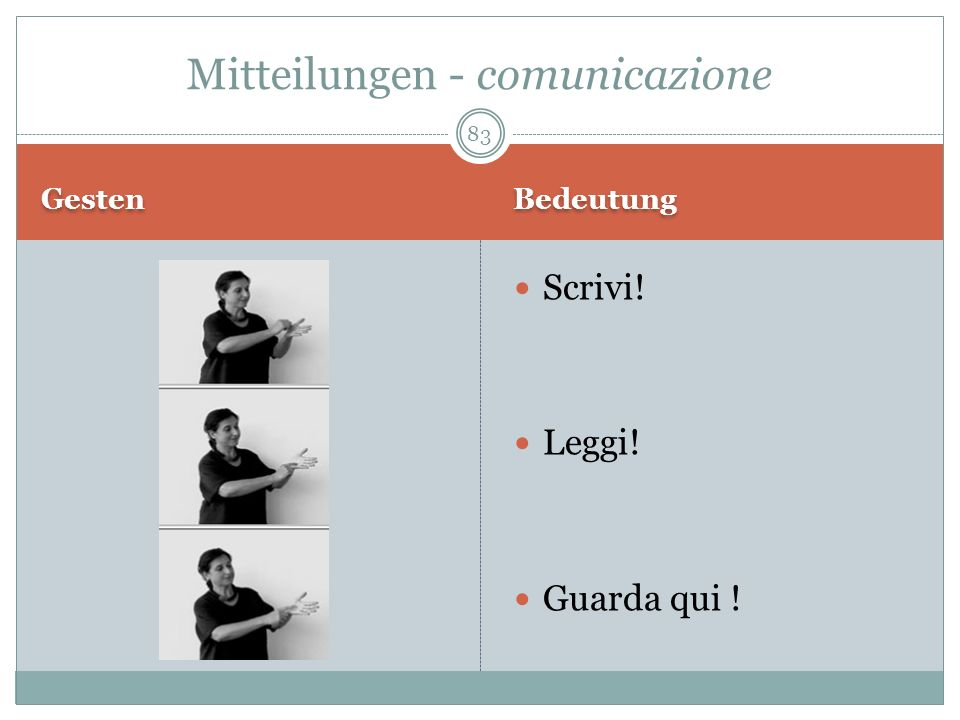 Mitteilungen - comunicazione