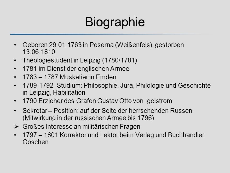 Biographie Geboren 29.01.1763 in Poserna (Weißenfels), gestorben 13.06.1810. Theologiestudent in Leipzig (1780/1781)