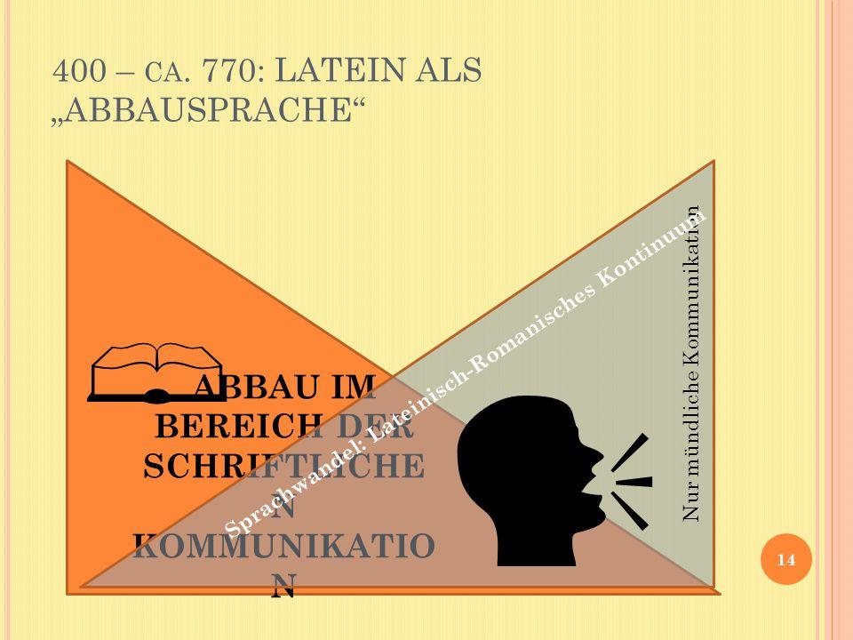 """400 – ca. 770: LATEIN ALS """"ABBAUSPRACHE"""