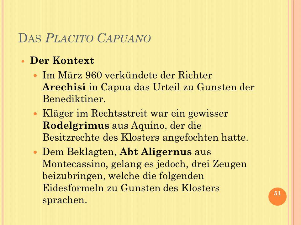 Das Placito Capuano Der Kontext