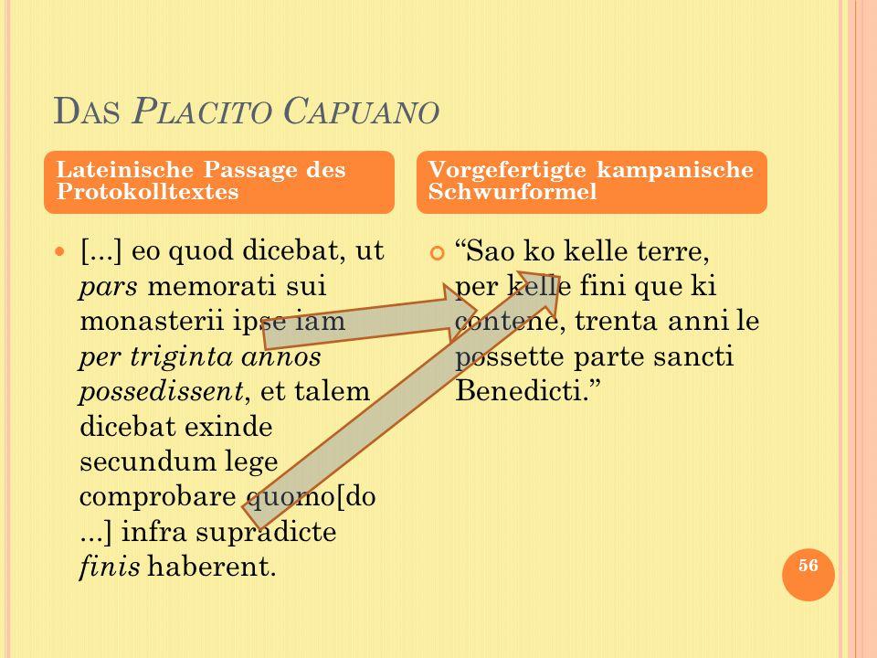 Das Placito Capuano Lateinische Passage des Protokolltextes. Vorgefertigte kampanische Schwurformel.