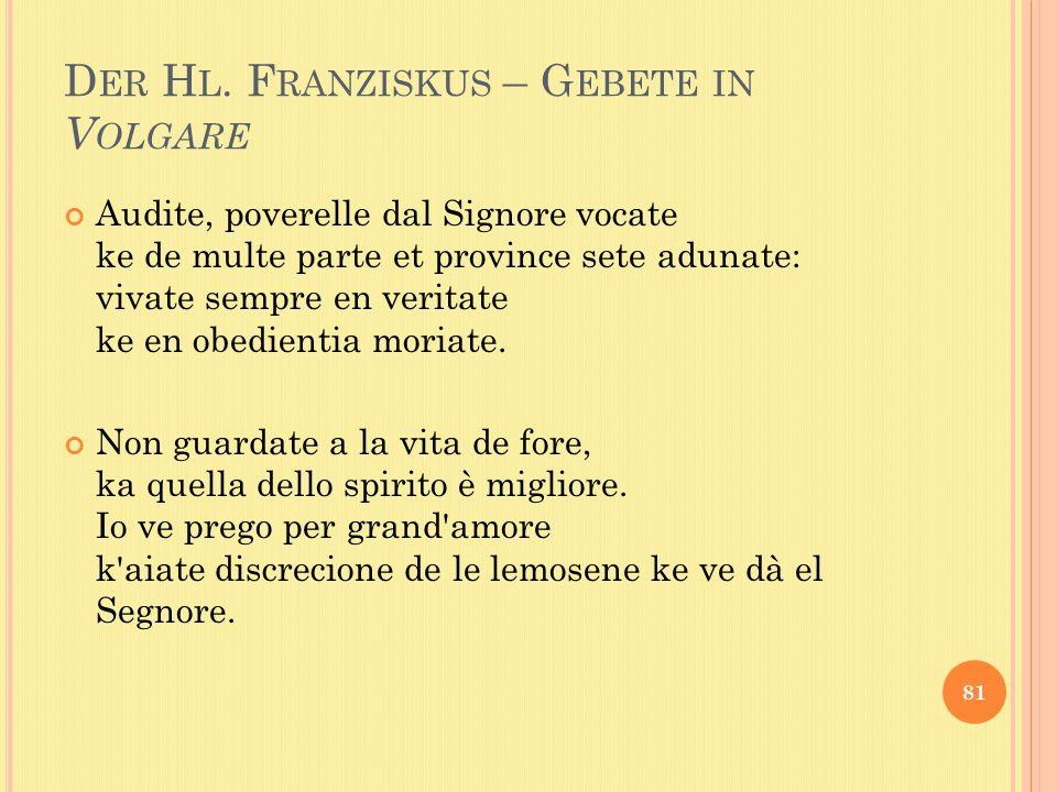 Der Hl. Franziskus – Gebete in Volgare