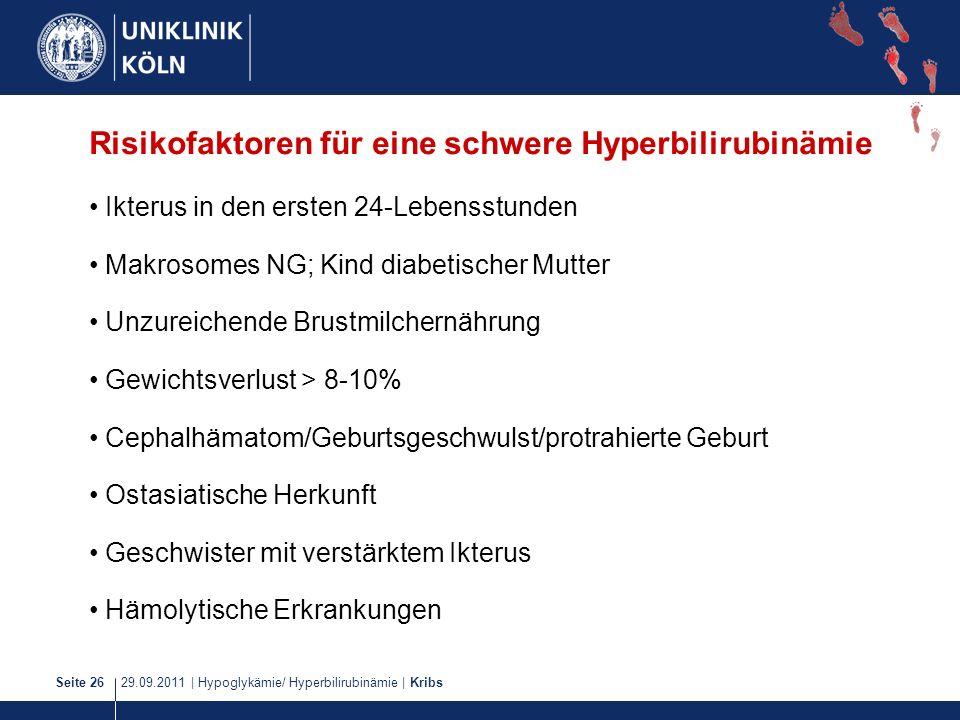 Risikofaktoren für eine schwere Hyperbilirubinämie