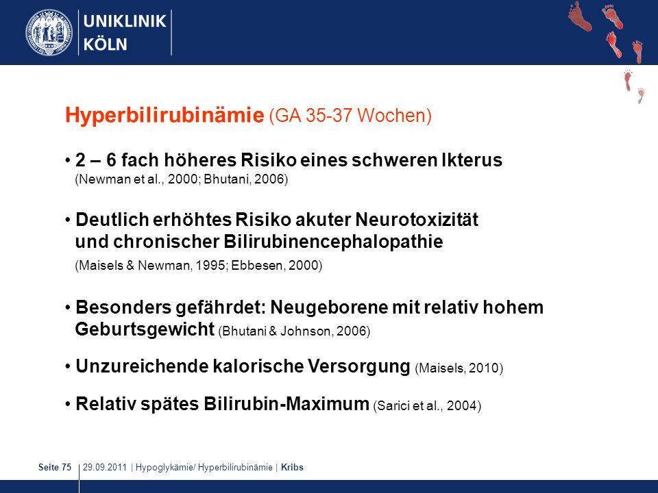Hyperbilirubinämie (GA 35-37 Wochen)