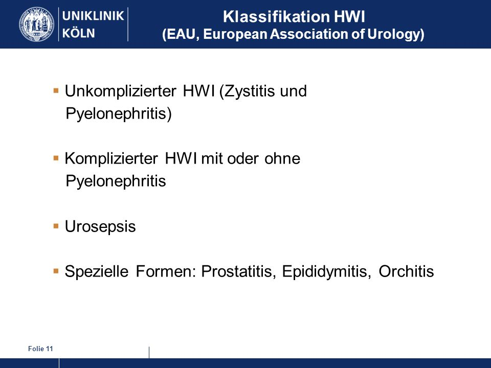 Klassifikation HWI (EAU, European Association of Urology)